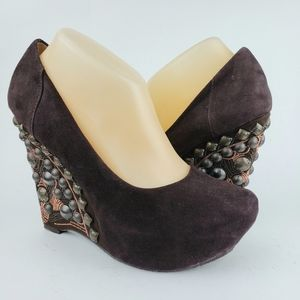 Naughty Monkey Brown Studded Wedge Heels 8.5